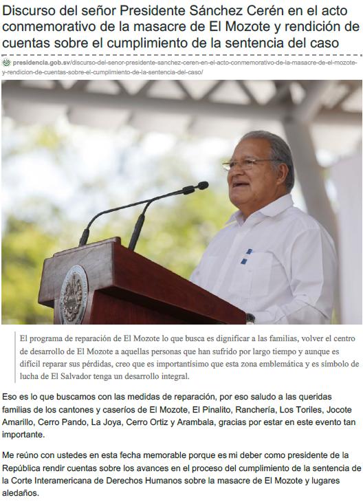 Discurso del señor Presidente Sánchez Cerén en el acto conmemorativo de la masacre de El Mozote y rendición de cuentas sobre el cumplimiento de la sentencia del caso
