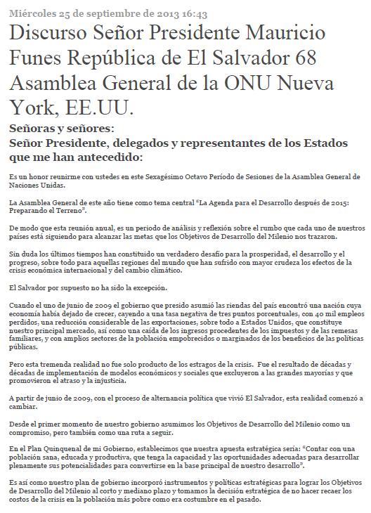 Discurso Señor Presidente Mauricio Funes República de El Salvador 68 Asamblea General de la ONU Nueva York, EE.UU.