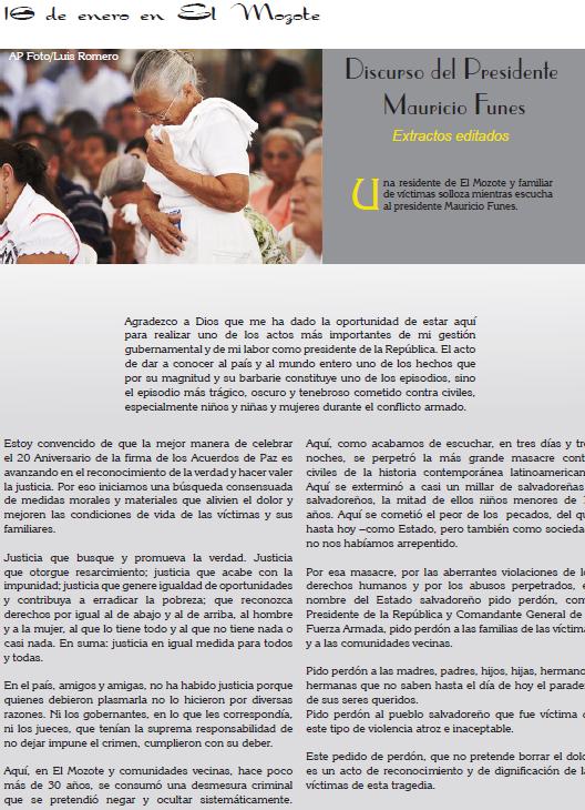 Discurso del Presidente Mauricio Funes, el 16 de enero 2012 Extractos editados